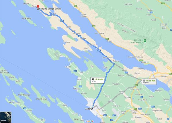 Route von Zadar nach Pag